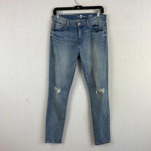 7 FOR ALL MANKIND Light Knee Ripped Jeans